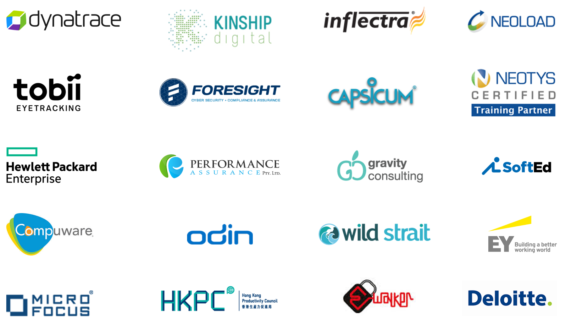 List of AccessHQ partners. Dynatrace, Kinship, Infectra, Neoload, Tobii, Foresight, Capsicum, HP, Gravity Consulting, SoftEd, Compuware, Odin, Wild Strait, EY, Micro Focus, HKPC, EWalker, Deloitte and Performance Assurance